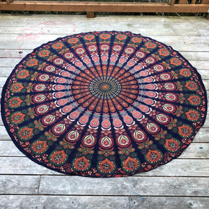 jaan-imports - Green Navy Peacock Print Round Tapestry - Khoobsurat Gift Shop - Round Tapestry
