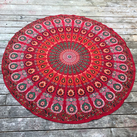 jaan-imports - Red Orange Peacock Print Round Tapestry - Khoobsurat Gift Shop - Round Tapestry