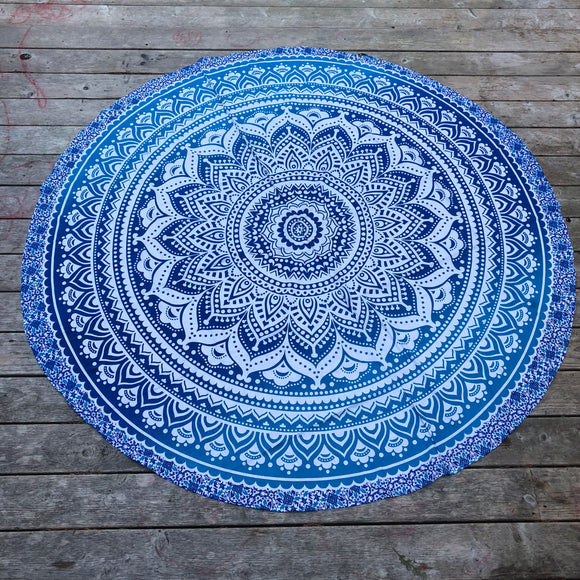 jaan-imports - Blue Mandala Round Tapestry - Khoobsurat Gift Shop - Round Tapestry