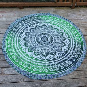 jaan-imports - Green Mandala Round Tapestry - Khoobsurat Gift Shop - Round Tapestry