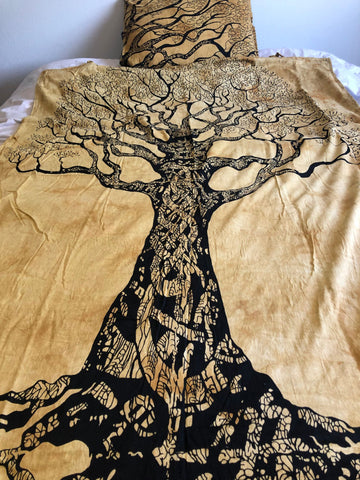 Yellow Tree of Life Twin Duvet Set
