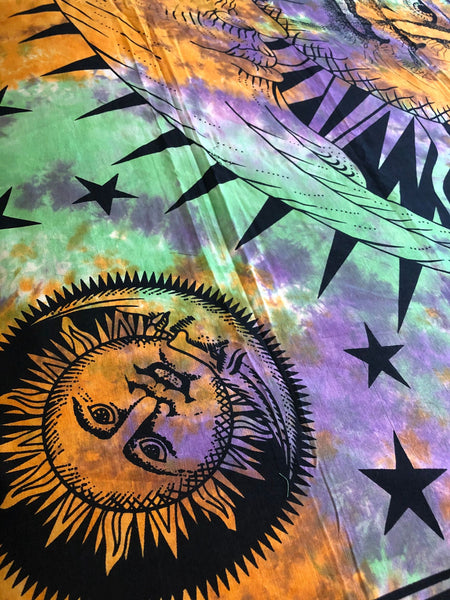 Sun and Moon Tie Dye Queen Duvet Set