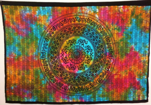 jaan-imports - Colorful Tie Dye Mandala with Elephants Twin Tapestry - Khoobsurat Gift Shop - Twin Tapestry