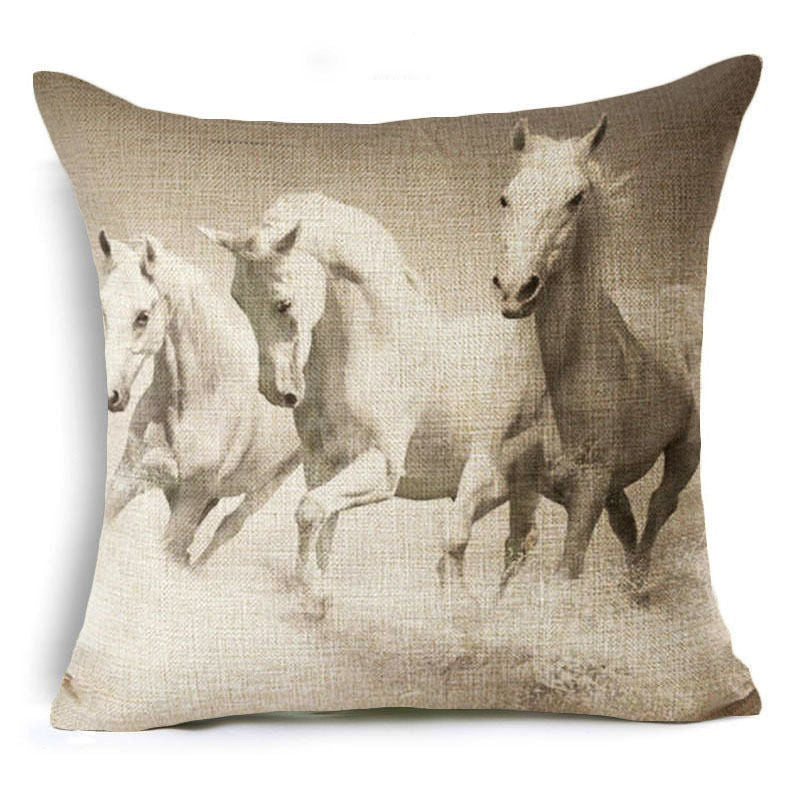 jaan-imports - Three White Horses in the Wild Pillow Cover - Khoobsurat Gift Shop - Pillow Cover