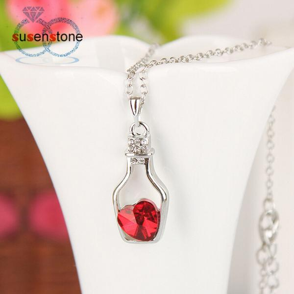 jaan-imports - Wish Bottle with Hearth Rhinestone Necklace (3 Colors) - Khoobsurat Gift Shop - Necklace