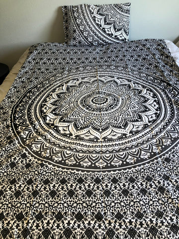 Black and Gray Mandala Twin Duvet Set