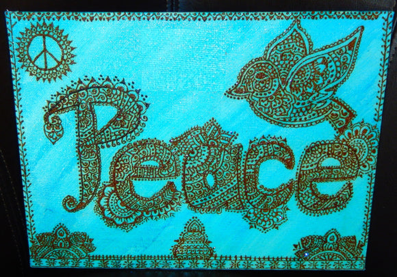 jaan-imports - Handmade Henna Inspired Art- Henna Design PEACE with Bird - Khoobsurat Gift Shop - Henna Art