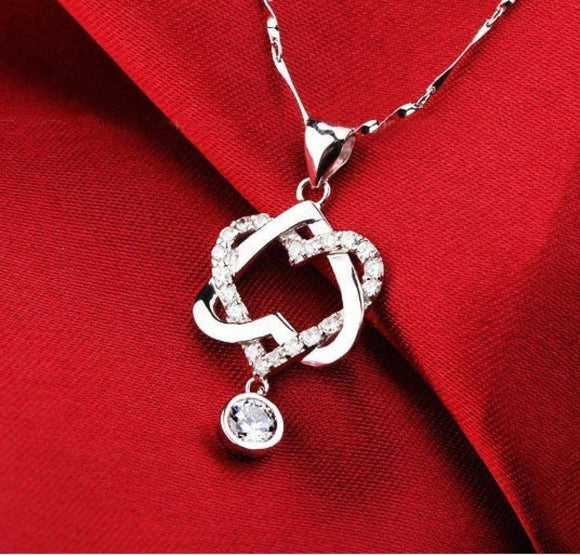 jaan-imports - Double Interlocking Hearts with Rhinestones Necklace - Khoobsurat Gift Shop - Necklace