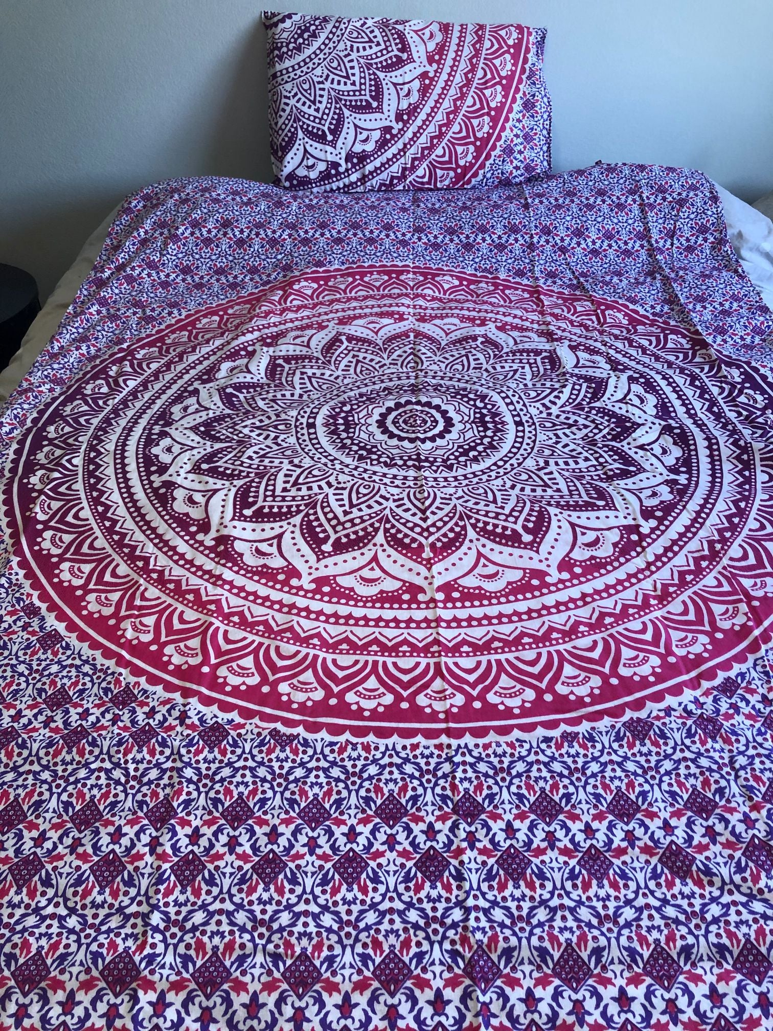 Pink Mandala Twin Duvet Set