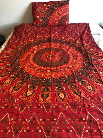 Red Orange Mandala Twin Duvet Set