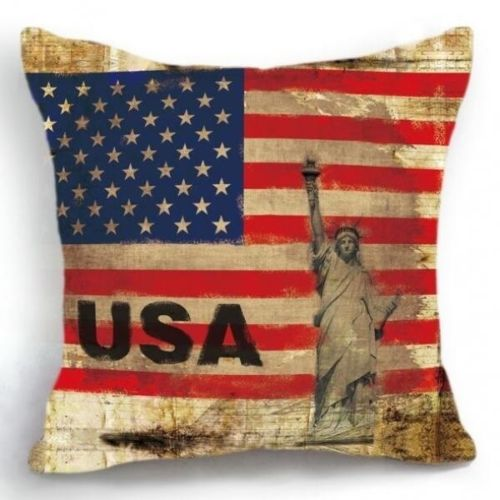 jaan-imports - Statue of Liberty with American Flag Pillow Cover - Khoobsurat Gift Shop - Pillow Cover