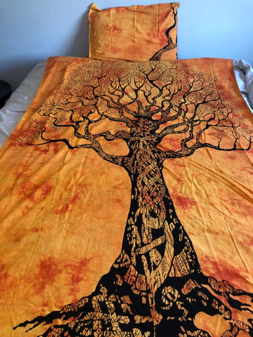 Orange Tree of Life Twin Duvet Set