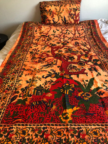 Red Orange Tree of Life Twin Duvet Set