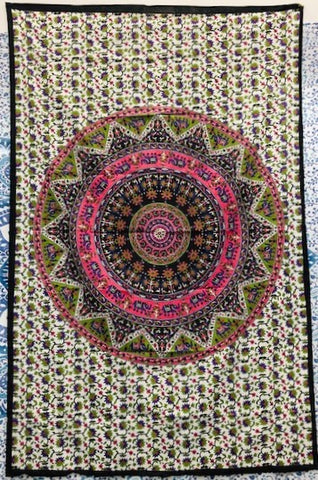 jaan-imports - Pink Mandala Twin Tapestry - Khoobsurat Gift Shop - Twin Tapestry
