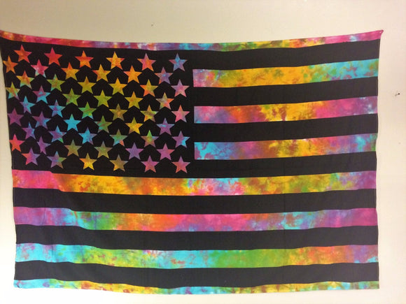 jaan-imports - Colorful Tye Dye Flag Twin Tapestry - Khoobsurat Gift Shop - Twin Tapestry