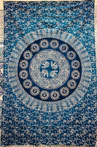 jaan-imports - Blue Elephant Mandala Twin Tapestry - Khoobsurat Gift Shop - Twin Tapestry