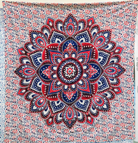 jaan-imports - Red Blue Flower Mandala Queen Tapestry - Khoobsurat Gift Shop - Queen Tapestry