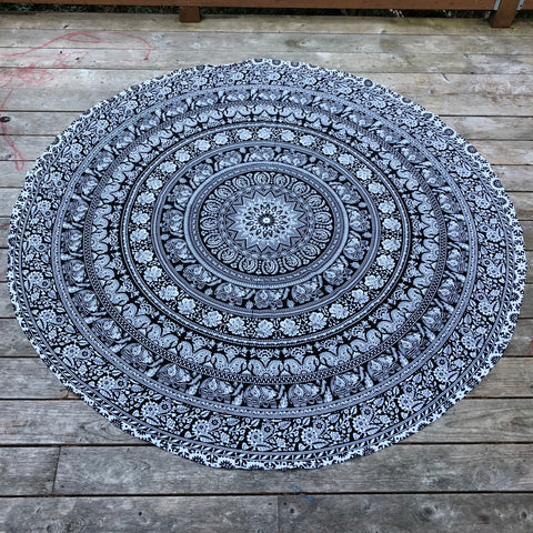 jaan-imports - Black and White Mandala with Elephants Round Tapestry - Khoobsurat Gift Shop - Round Tapestry