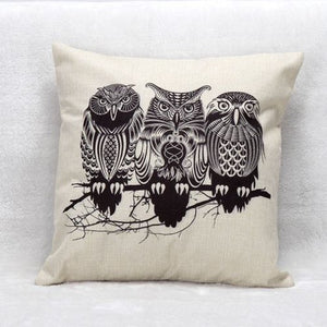 jaan-imports - Three Black and White Owls Pillow Cover - Khoobsurat Gift Shop - Pillow Cover