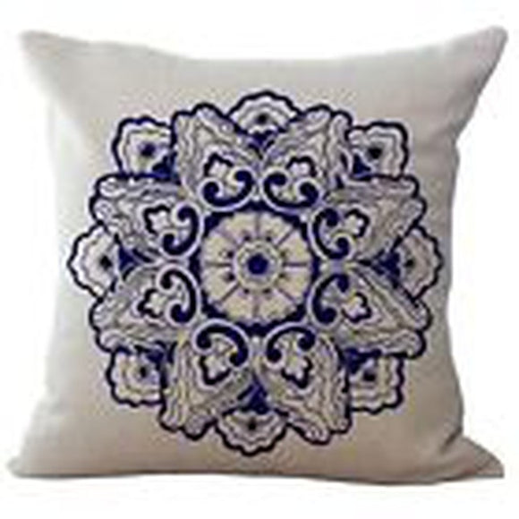 jaan-imports - Navy Blue Color Mandala Pillow Cover - Khoobsurat Gift Shop - Pillow Cover