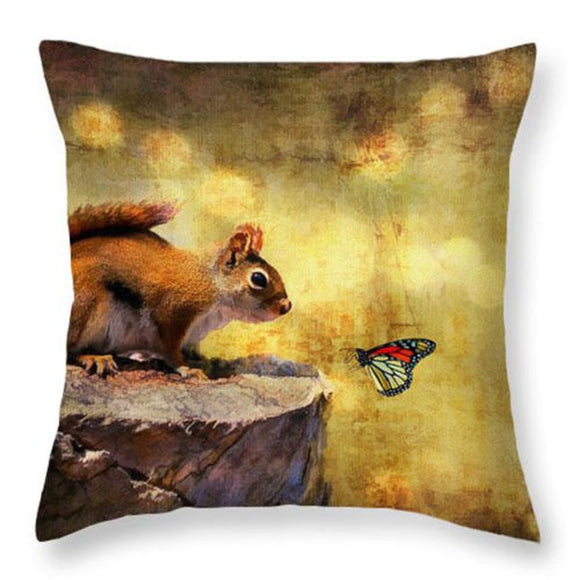 jaan-imports - Cute Squirrel Butterfly Pillow Cover - Khoobsurat Gift Shop - Pillow Cover