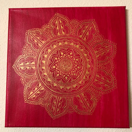 jaan-imports - Mandala Red and Gold-Handmade Henna Inspired Art - Khoobsurat Gift Shop - Henna Art