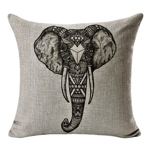 jaan-imports - Black and White Elephant Head Pillow Cover - Khoobsurat Gift Shop - Pillow Cover
