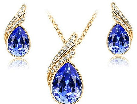 jaan-imports - Blue Teardrop Earring and Necklace Jewelry Set - Khoobsurat Gift Shop - Jewelry Set