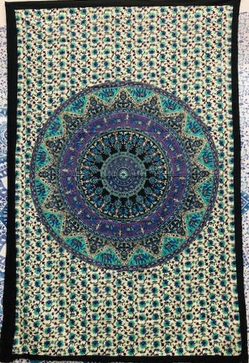jaan-imports - Purple Blue Mandala Twin Tapestry - Khoobsurat Gift Shop - Twin Tapestry