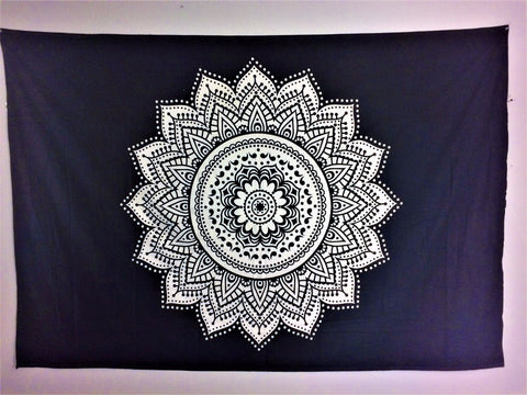 jaan-imports - Black and White Flower Mandala Twin Tapestry - Khoobsurat Gift Shop - Twin Tapestry