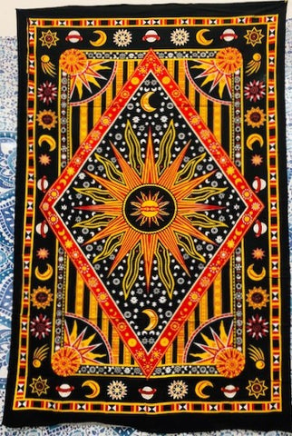 jaan-imports - Sun with Moons and Stars Diamond Print Twin Tapestry - Khoobsurat Gift Shop - Twin Tapestry