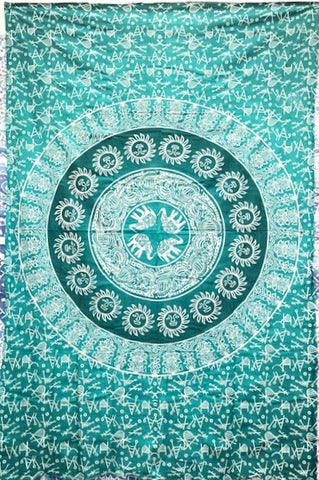 jaan-imports - Elephant Sun Mandala Green Color Twin Tapestry - Khoobsurat Gift Shop - Twin Tapestry