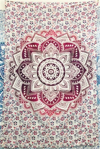 jaan-imports - Pink Flower Mandala Twin Tapestry - Khoobsurat Gift Shop - Twin Tapestry