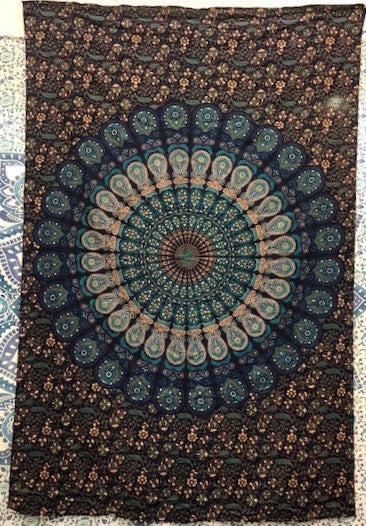 jaan-imports - Navy Tan Peacock Mandala Twin Tapestry - Khoobsurat Gift Shop - Twin Tapestry