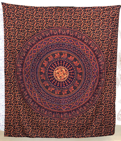 jaan-imports - Purple Tan Elephant Mandala Queen Tapestry - Khoobsurat Gift Shop - Queen Tapestry