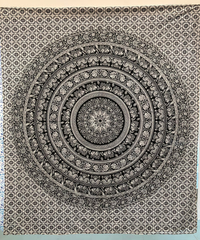 jaan-imports - Black and White Elephant Mandala Queen Tapestry - Khoobsurat Gift Shop - Queen Tapestry