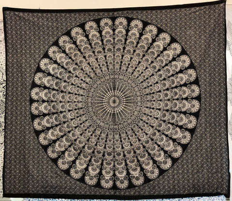 jaan-imports - Black and White Peacock Mandala Queen Tapestry - Khoobsurat Gift Shop - Queen Tapestry