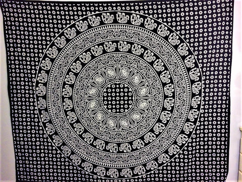 jaan-imports - Black and White Elephants Mandala Queen Tapestry - Khoobsurat Gift Shop - Queen Tapestry