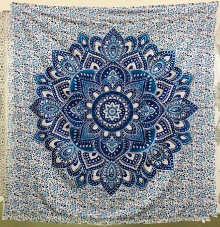 jaan-imports - Blue Flower Mandala Queen Tapestry - Khoobsurat Gift Shop - Queen Tapestry