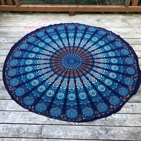 jaan-imports - Navy Peacock Print Round Tapestry - Khoobsurat Gift Shop - Round Tapestry