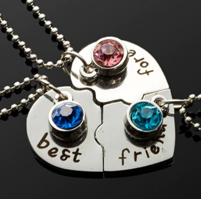 jaan-imports - 3 Piece Heart Rhinestones Best Friends Necklace - Khoobsurat Gift Shop - Necklace