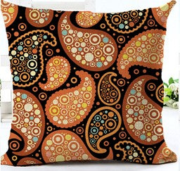 jaan-imports - Henna Inspired Paisley Print Orange Pillow Cover - Khoobsurat Gift Shop - Pillow Cover