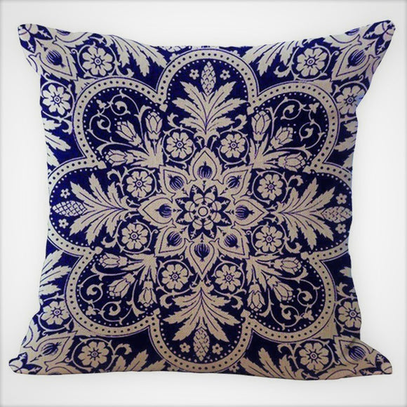 jaan-imports - Navy Blue Flower Mandala Pillow Cover - Khoobsurat Gift Shop - Pillow Cover