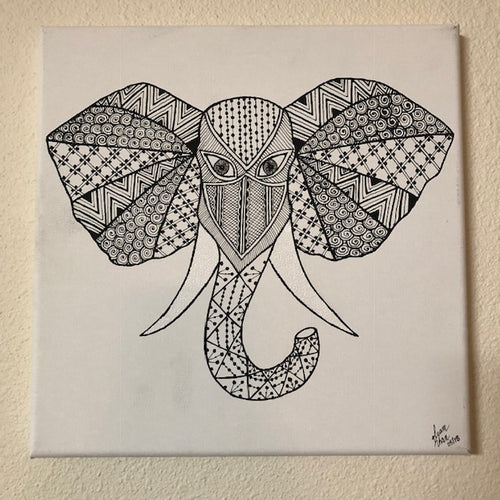 jaan-imports - Handmade Henna Inspired Art- Black and White Elephant Head for Good Luck - Khoobsurat Gift Shop - Henna Art
