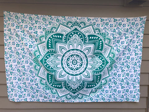 jaan-imports - Green Flower Mandala Twin Tapestry - Khoobsurat Gift Shop - Twin Tapestry