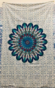 jaan-imports - Blue Green Peacock Mandala Twin Tapestry - Khoobsurat Gift Shop - Twin Tapestry