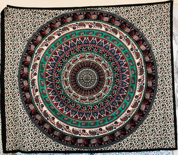 jaan-imports - Green Red Elephant Mandala Queen Tapestry - Khoobsurat Gift Shop - Queen Tapestry