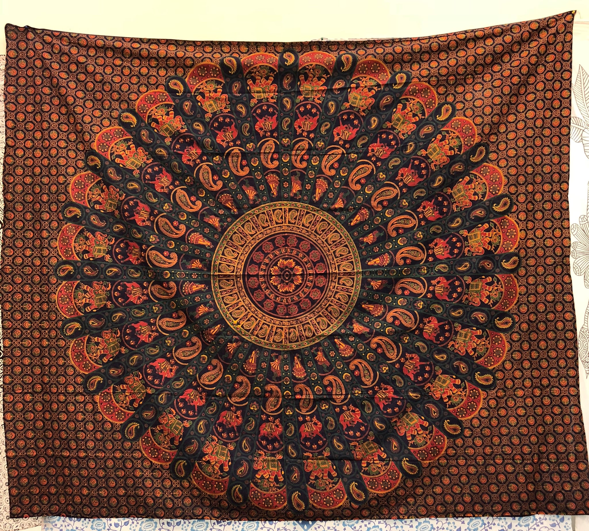 jaan-imports - Navy Orange Mandala Queen Tapestry - Khoobsurat Gift Shop - Queen Tapestry
