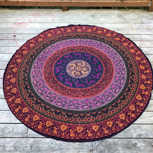 jaan-imports - Multi-Color Mandala with Yellow Flowers Round Tapestry - Khoobsurat Gift Shop - Round Tapestry