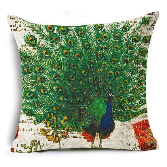jaan-imports - Peacock with Open Feathers Pillow Cover - Khoobsurat Gift Shop - Pillow Cover